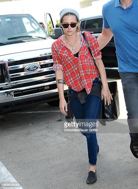Kristen Stewart is seen at LAX on April 05 2015 in Los Angeles California