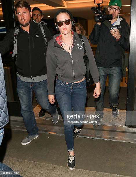 Kristen Stewart is seen at LAX on April 07 2015 in Los Angeles California