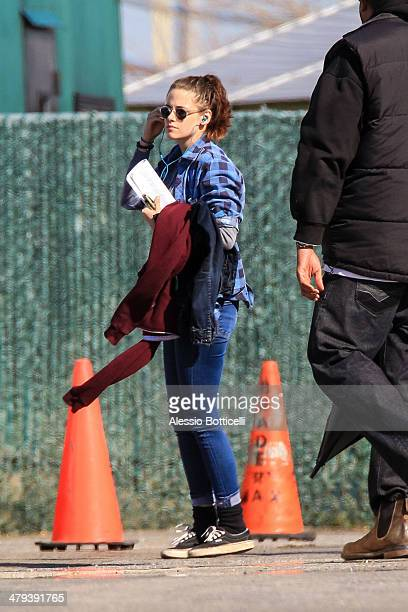 Kristen Stewart is seen on location for 'Still Alice' on March 18 2014 in Long Beach New York