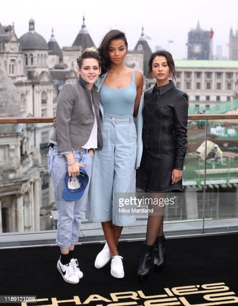 "Kristen Stewart, Naomi Scott and Ella Balinska attends the ""Charlie's Angels"" photocall at The Corinthia Hotel on November 21, 2019 in London,..."