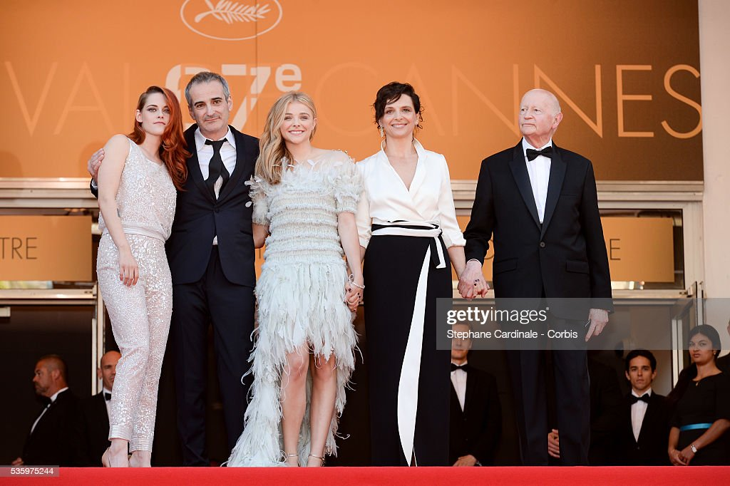 Kristen Stewart, Olivier Assayas, Chloe Grace Moretz and Juliette Binoche and Gilles Jacob at the 'Clouds Of Sils Maria' Premiere at the 67th Annual Cannes Film Festival