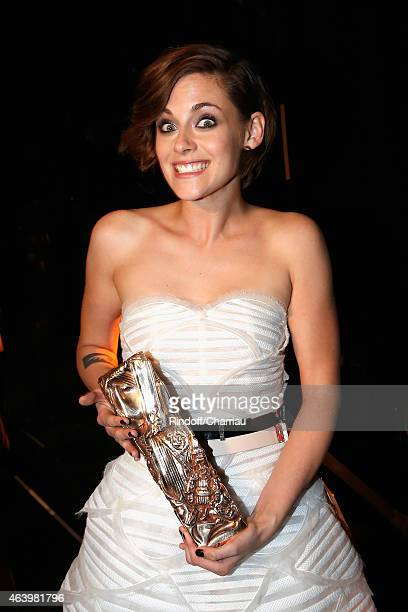 Kristen Stewart poses backstage after she received the award for Best Actress in a Supporting Role in 'Sils Maria during the 40th Cesar Film Awards...