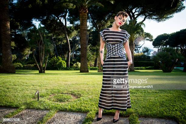 Kristen Stewart poses for portraits at the amfAR Gala Cannes 2018 cocktail at Hotel du CapEdenRoc on May 17 2018 in Cap d'Antibes France