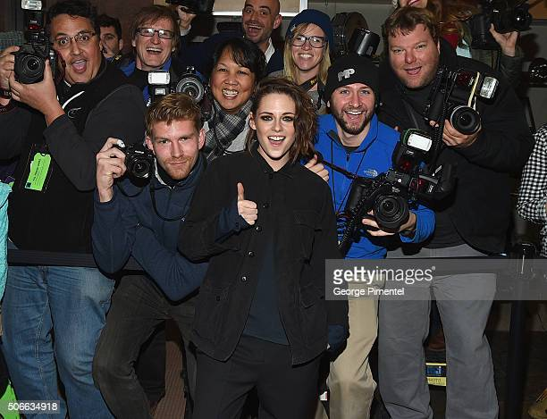 Kristen Stewart poses with photographers at the 'Certain Women' Premiere during the 2016 Sundance Film Festival at Eccles Center Theatre on January...
