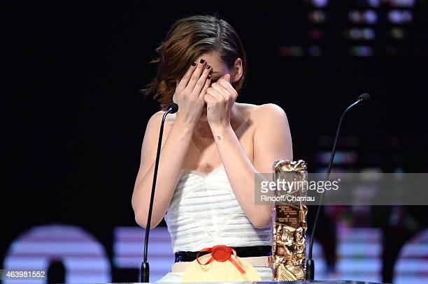 Kristen Stewart receives the award for Best Actress in a Supporting Role in 'Sils Maria ' during the 40th Cesar Film Awards 2015 Ceremony at Theatre...