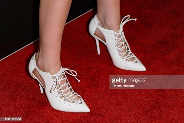 Kristen Stewart shoe detail attends a special fan screening of 20th Century Fox's Underwater at Alamo Drafthouse Cinema on January 07 2020 in Los...