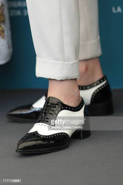 Kristen Stewart shoe detail attends Seberg photocall during the 76th Venice Film Festival at Sala Grande on August 30 2019 in Venice Italy