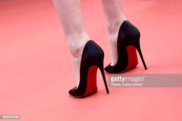 Kristen Stewart shoe detail attends the screening of 'BlacKkKlansman' during the 71st annual Cannes Film Festival at Palais des Festivals on May 14...