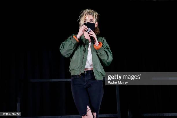 """Kristen Stewart speaks at Hulu """"Happiest Season"""" Drive-In Premiere at The Grove on November 17, 2020 in Los Angeles, California."""