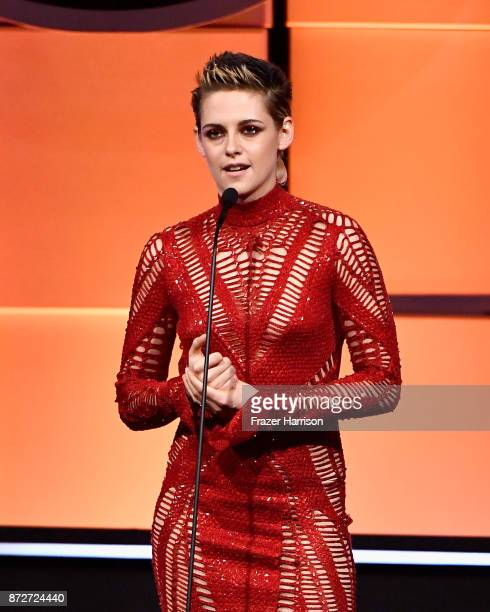 Kristen Stewart speaks onstage during the 31st Annual American Cinematheque Awards Gala at The Beverly Hilton Hotel on November 10 2017 in Beverly...