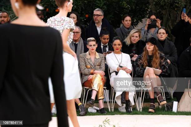 Kristen Stewart Tessa Thompson and Kristine Froseth attend the Chanel Haute Couture Spring Summer 2019 show as part of Paris Fashion Week on January...