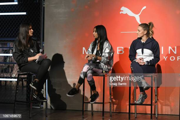 Kristen Tully Trisha Ayyagari and Allison Giorgio speak during the Maybelline New York PUMA launch event at The Caldwell Factory on February 10 2019...