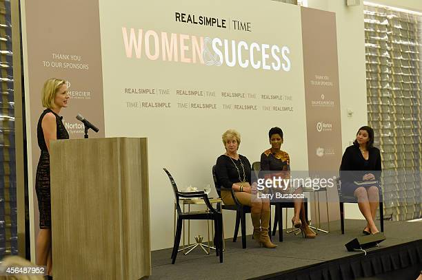 Kristen Van Ogtrop, Linda McMahon, Tamron Hall and Kristen Anderson-Lopez speak at the TIME and Real Simple's Women & Success event at the Park Hyatt...