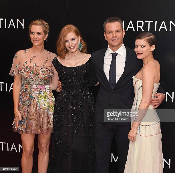 Kristen Wigg Jessica Chastain Matt Damon and Kate Mara attend the European premiere of The Martian at Odeon Leicester Square on September 24 2015 in...