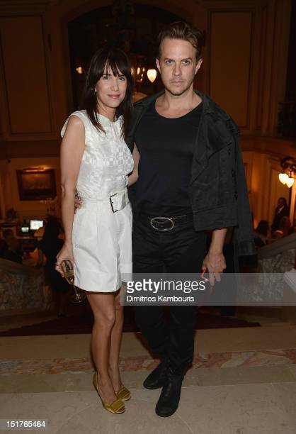Kristen Wiig and Casey Spooner attend the Marc Jacobs Spring 2013 after party during MercedesBenz Fashion Week at The New York Yacht Club on...