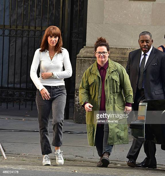 """Kristen Wiig and Melissa McCarthy seen on the set of """"Ghostbusters"""" in Tribeca on September 19, 2015 in New York City."""