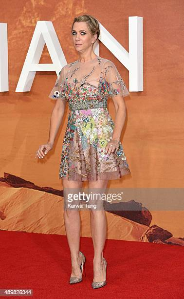 """Kristen Wiig attends the European premiere of """"The Martian"""" at Odeon Leicester Square on September 24, 2015 in London, England."""
