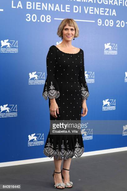 Kristen Wiig attends the official Press Conference and photo call for 'Downsizing' during the 74th Venice Film Festival at Sala Casino on August 30...
