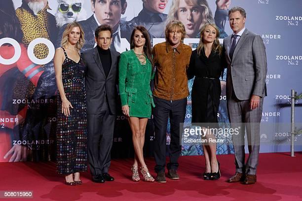 Kristen Wiig Ben Stiller Penelope Cruz Owen Wilson Christine Taylor and Will Ferrell attend the Berlin fan screening of the film 'Zoolander No 2' at...