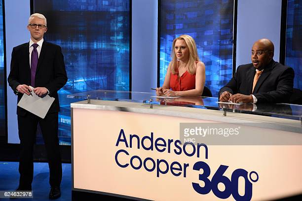 LIVE Kristen Wiig Episode 1711 Pictured Alex Moffat as Anderson Cooper Kate McKinnon as Kayleigh McEnany and Kenan Thompson as Van Jones during the...