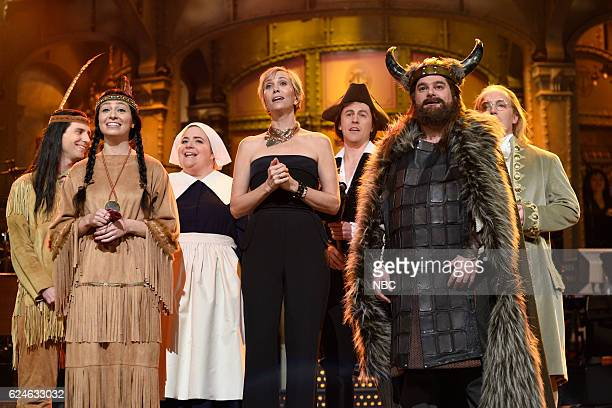 LIVE 'Kristen Wiig' Episode 1711 Pictured Kyle Mooney as a Native American Melissa Villaseñor as Sacagawea Aidy Bryant as a pilgrim Kristen Wiig Alex...