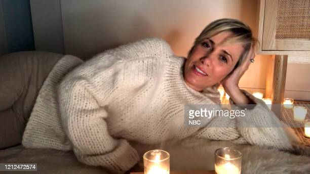 """Kristen Wiig"""" Episode 1785Q -- Pictured in this screengrab: Host Kristen Wiig during the Monologue on Saturday, May 9, 2020 --"""