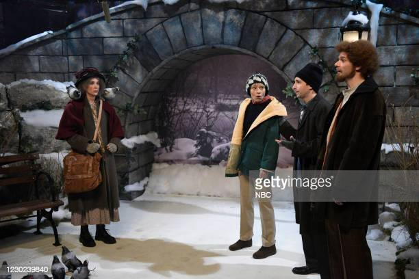 """Kristen Wiig"""" Episode 1794 -- Pictured: Host Kristen Wiig as the Pigeon Lady, Melissa Villaseñor as Kevin McCallister, Kyle Mooney as Harry Lime, and..."""