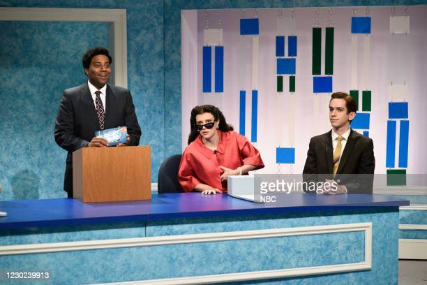 "Kristen Wiig"" Episode 1794 -- Pictured: Kenan Thompson as Grant Choad, Kate McKinnon, and Andrew Dismukes during the ""Secret Word"" sketch on..."
