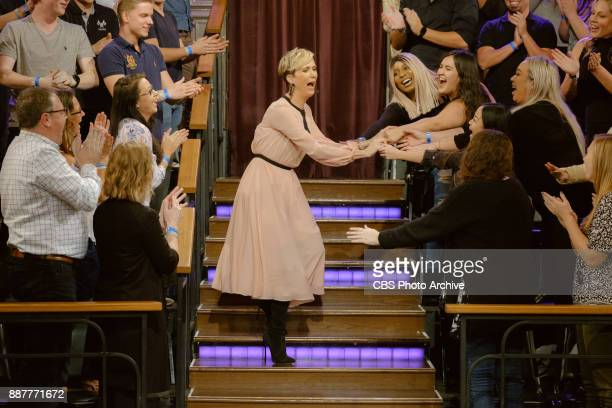 Kristen Wiig greets the audience during 'The Late Late Show with James Corden' Wednesday December 6 2017 On The CBS Television Network