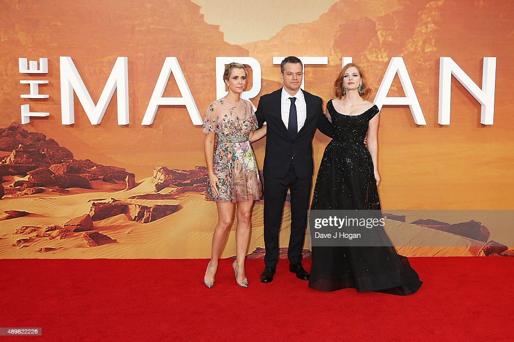 Kristen Wiig, Matt Damon and Jessica Chastain attend the European premiere of 'The Martian' at Odeon Leicester Square on September 24, 2015 in London, England.