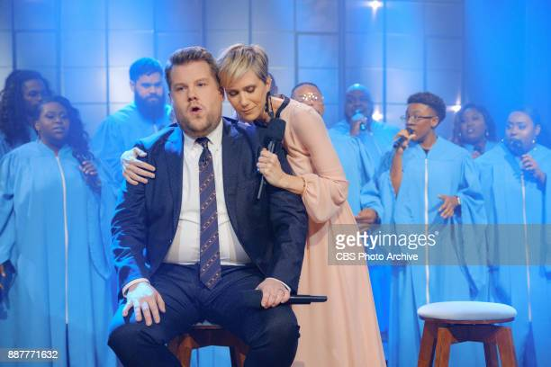 Kristen Wiig performs in a sketch with James Corden during The Late Late Show with James Corden Wednesday December 6 2017 On The CBS Television...