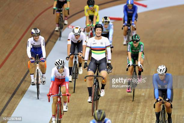 Kristen Wild of Netherlands celebrates victory in the 10km Womens Scratch Race during the track cycling on Day Two of the European Championships...