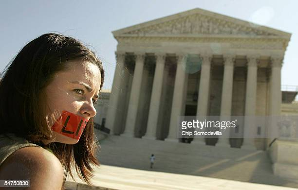 Kristene Mueller of Niagara Falls New York prays in front of the Supreme Court building September 5 2005 in Washington DC Mueller is a member of an...