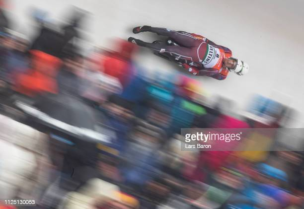 Kristens Putins and Imants Marcinkevics of Latvia in action during the first run of the Luge World Championship double race at Veltins Eis-Arena on...