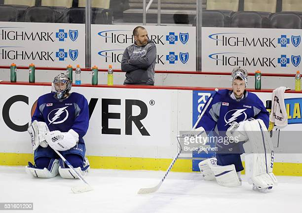 Kristers Gudlevskis and Andrei Vasilevskiy of the Tampa Bay Lightning skate during an offday practice session prior to Game Two of the Eastern...
