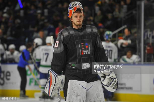 Kristers Gudlevskis of the Bridgeport Sound Tigers skates onto the ice during a game against the Utica Comets at the Webster Bank Arena on December 2...