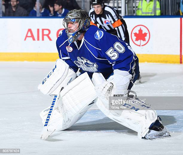 Kristers Gudlevskis of the Syracuse Crunch prepares for a shot against the Toronto Marlies during AHL game action January 3 2016 at Ricoh Coliseum in...