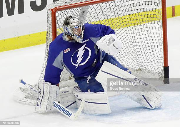 Kristers Gudlevskis of the Tampa Bay Lightning skates during an offday practice session prior to Game Two of the Eastern Conference Final against the...