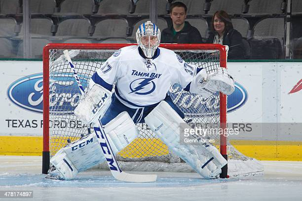 Kristers Gudlevskis of the Tampa Bay Lightning tends goal during pre game warm ups against the Dallas Stars at the American Airlines Center on March...