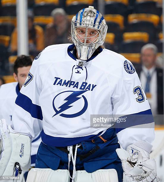 Kristers Gudlevskis of the Tampa Bay Lightning warmups prior to the game against the Nashville Predators at Bridgestone Arena on February 27 2014 in...