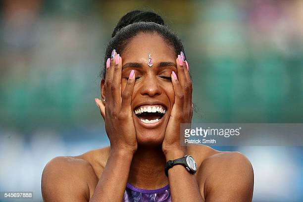 Kristi Castlin celebrates after the Women's 100 Meter Hurdles Final during the 2016 US Olympic Track Field Team Trials at Hayward Field on July 8...
