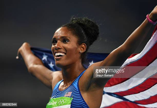 Kristi Castlin of the United States celebrates winning the bronze medal in the Women's 100 metres hurdles final on Day 12 of the Rio 2016 Olympic...