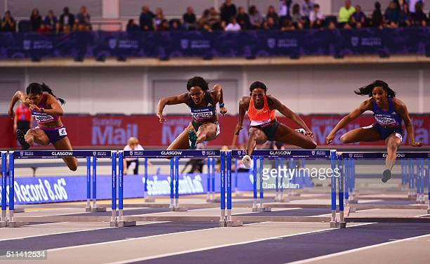 Kristi Castlin of the United States Tiffany Porter of Great Britain Nia Ali of the United States and Kendra Harrison of the United States compete in...