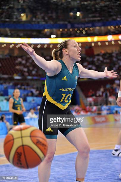Kristi Harrower of Australia argues a call against China during the Women's Semifinals basketball game at the Wukesong Indoor Stadium during Day 13...