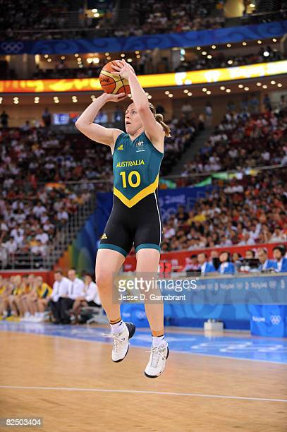 Kristi Harrower of Australia shoots against China during the Women's Semifinals basketball game at the Wukesong Indoor Stadium during Day 13 of the...