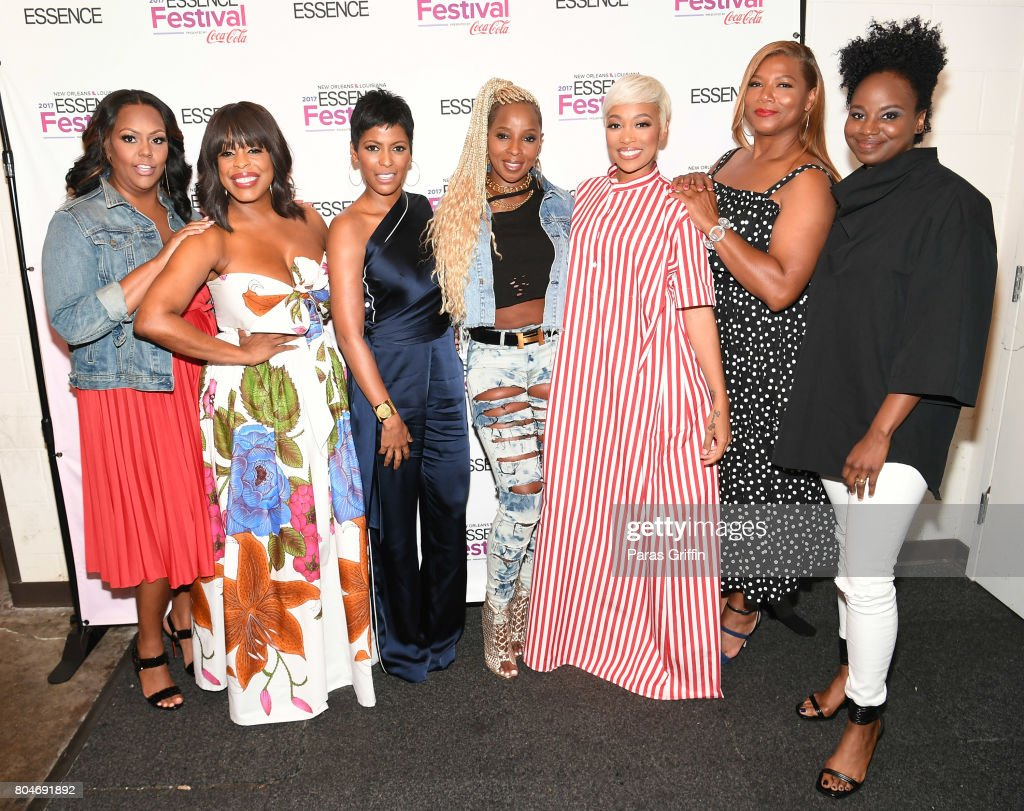 Kristi Henderson, Niecy Nash, Tamron Hall, Mary J. Blige, Monica, Queen Latifah and Dee Rees pose backstage at the 2017 ESSENCE Festival presented by Coca-Cola at Ernest N. Morial Convention Center on June 30, 2017 in New Orleans, Louisiana.