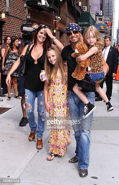 Kristi Lynn Gibson Raine Elizabeth Sychak Bret Michaels and Jorja Bleu Sychak visit Late Show With David Letterman at the Ed Sullivan Theater on July...