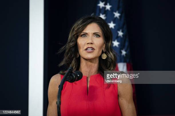 Kristi Noem, governor of South Dakota Governor, speaks during an event at Mount Rushmore National Memorial in Keystone, South Dakota, U.S., on...
