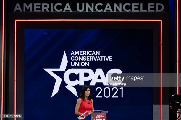 Kristi Noem, governor of South Dakota, speaks during the Conservative Political Action Conference in Orlando, Florida, U.S., on Saturday, Feb. 27,...