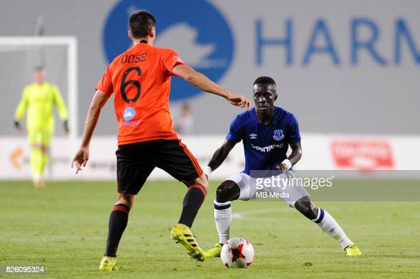 Kristi Qose of Ruzomberok and Idrissa Gueye of Everton in action during the UEFA Europa League Qualifier between MFK Ruzomberok and Everton on August...